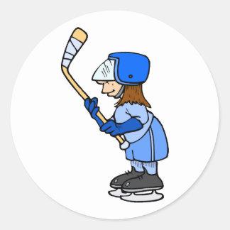 ¡Hockey del juego de los chicas!! Pegatina Redonda