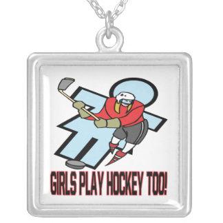 Hockey del juego de los chicas también colgante cuadrado
