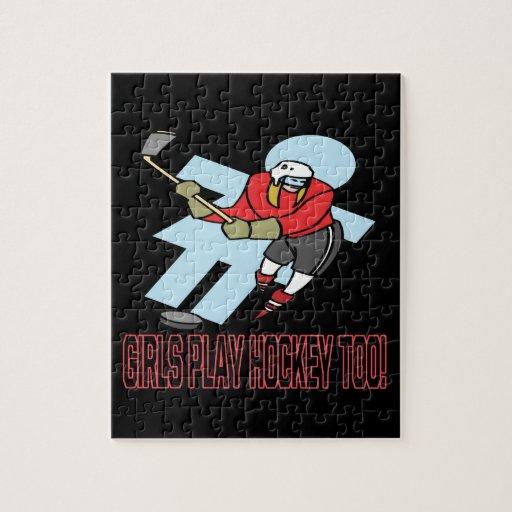 Hockey del juego de los chicas también rompecabezas con fotos