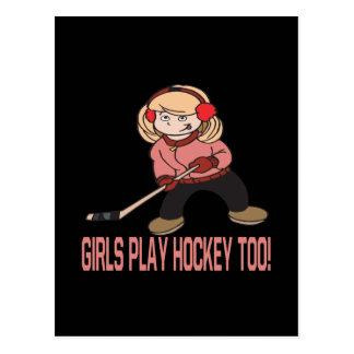 Hockey del juego de los chicas también tarjetas postales