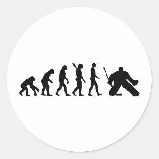 Hockey del portero de la evolución pegatina redonda