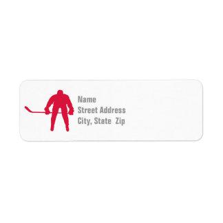 Hockey del rojo carmesí etiquetas de remite