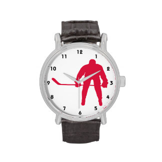 Hockey del rojo carmesí relojes de mano