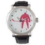 Hockey del rojo carmesí reloj