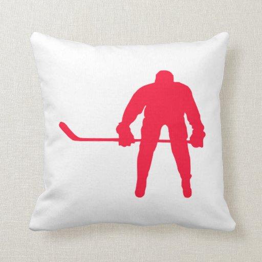 Hockey del rojo del escarlata cojines