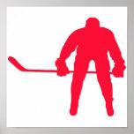 Hockey del rojo del escarlata póster