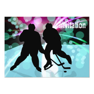 Hockey Duo Face Off 5x7 Paper Invitation Card