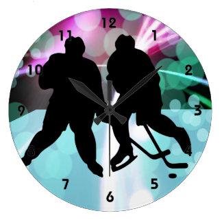Hockey Duo Face Off Large Clock