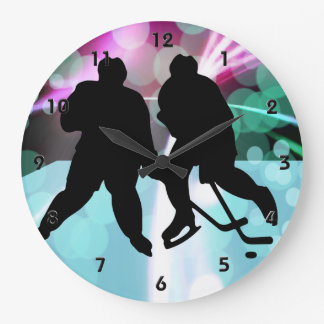 Hockey Duo Faceoff Large Clock