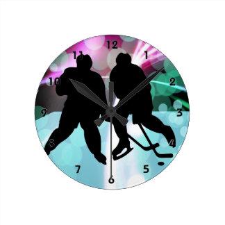 Hockey Duo Faceoff Round Clock