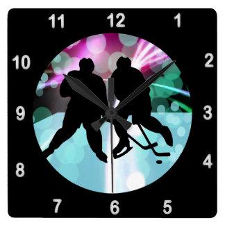 Hockey Duo Faceoff Square Wall Clock