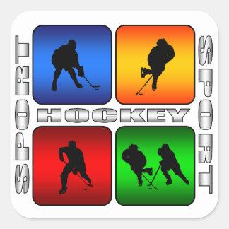 Hockey espectacular pegatina cuadrada