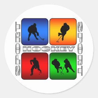 Hockey espectacular pegatina redonda