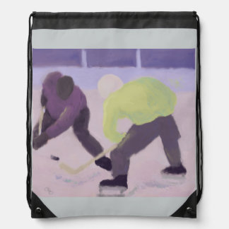 Hockey Face Off Drawstring Bag
