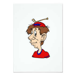 Hockey Fan Stick Hat 5x7 Paper Invitation Card