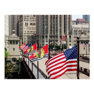 Hockey Flags on the Michigan Ave Bridge, Chicago Postcard
