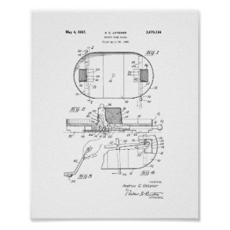 Hockey Game Board Patent Poster