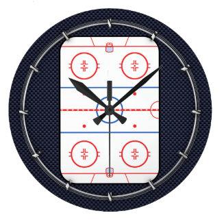 Hockey Game Companion Carbon Fiber Style Large Clock