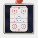 Hockey Game Companion Carbon Fiber Style Metal Ornament