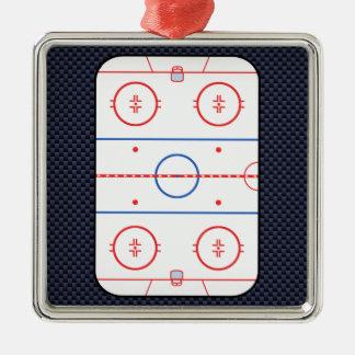 Hockey Game Companion Carbon Fiber Style Metal Ornament