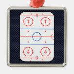 Hockey Game Companion Carbon Fiber Style Square Metal Christmas Ornament