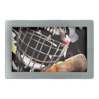 Hockey Gear Grunge Style Rectangular Belt Buckles