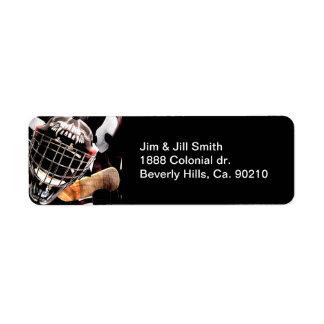 Hockey Gear Grunge Style Return Address Label