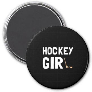 Hockey Girl 3 Inch Round Magnet