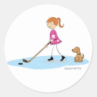 Hockey Girl Cartoon Pink Classic Round Sticker