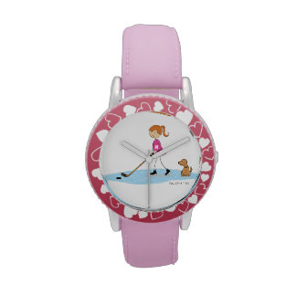 Hockey Girl Cartoon Wrist Watch