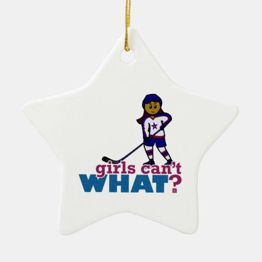 Hockey Girl Ceramic Ornament