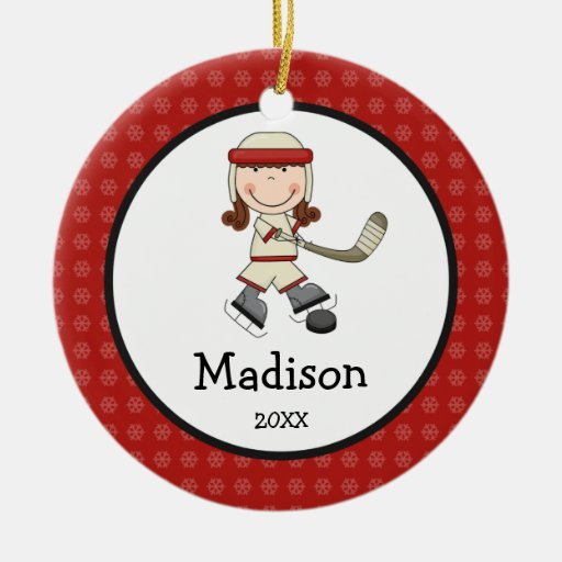 Hockey Girl Kids Personalized Christmas Christmas Tree Ornament