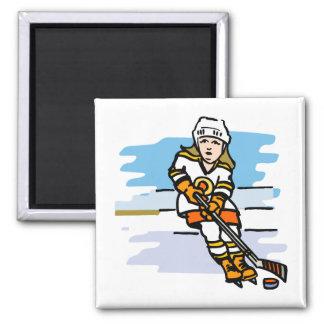 Hockey girl Orange Magnet