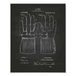 Hockey Glove 1915 Patent Art - Chalkboard Poster