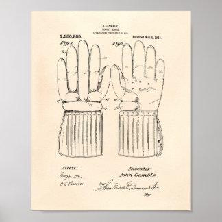 Hockey Glove 1915 Patent Art - Old Peper Poster