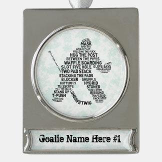 Hockey Goalie Calligram Custom Christmas Ornament Silver Plated Banner Ornament