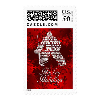 Hockey Goalie Calligram Word Art Christmas Card Postage