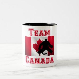 Hockey Goalie Canadian Flag Team Canada Two-Tone Coffee Mug