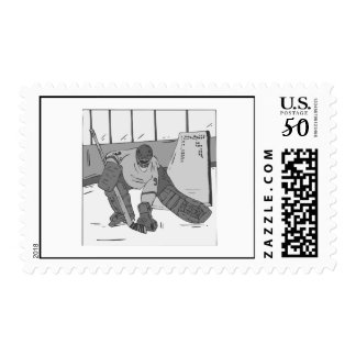 Hockey Goalie Gray Postage