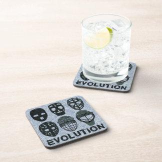 Hockey Goalie Mask Evolution Beverage Coaster