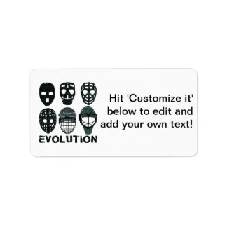 Hockey Goalie Mask Evolution Label