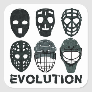 Hockey Goalie Mask Evolution Square Sticker