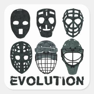 Hockey Goalie Mask Evolution Square Sticker