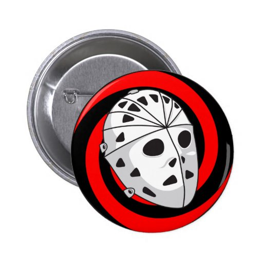 hockey goalie mask red black pinback button