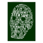 Hockey Goalie Mask Typography Design Greeting Card
