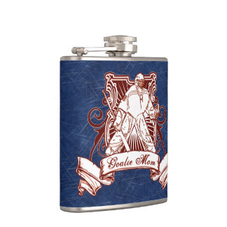Hockey Goalie Mom Hip Flask, Ice Background Hip Flask