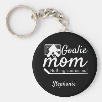 Hockey Goalie Mom Keychain not scared black