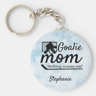 Hockey Goalie Mom Keychain not scared blue ice