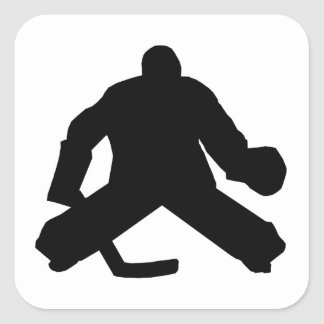 Hockey Goalie Silhouette Square Sticker