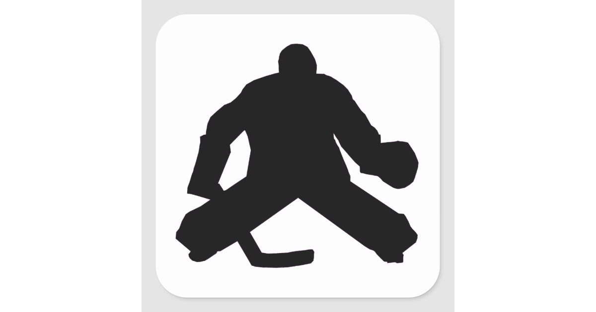 Hockey Goalie Silhouette Square Sticker Zazzle Com